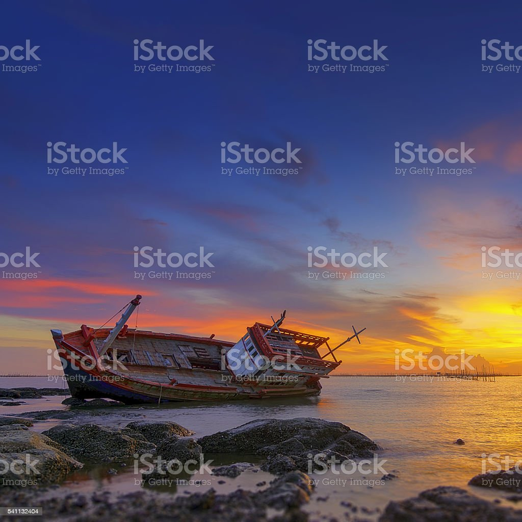 Old wrecked boat abandoned. stock photo