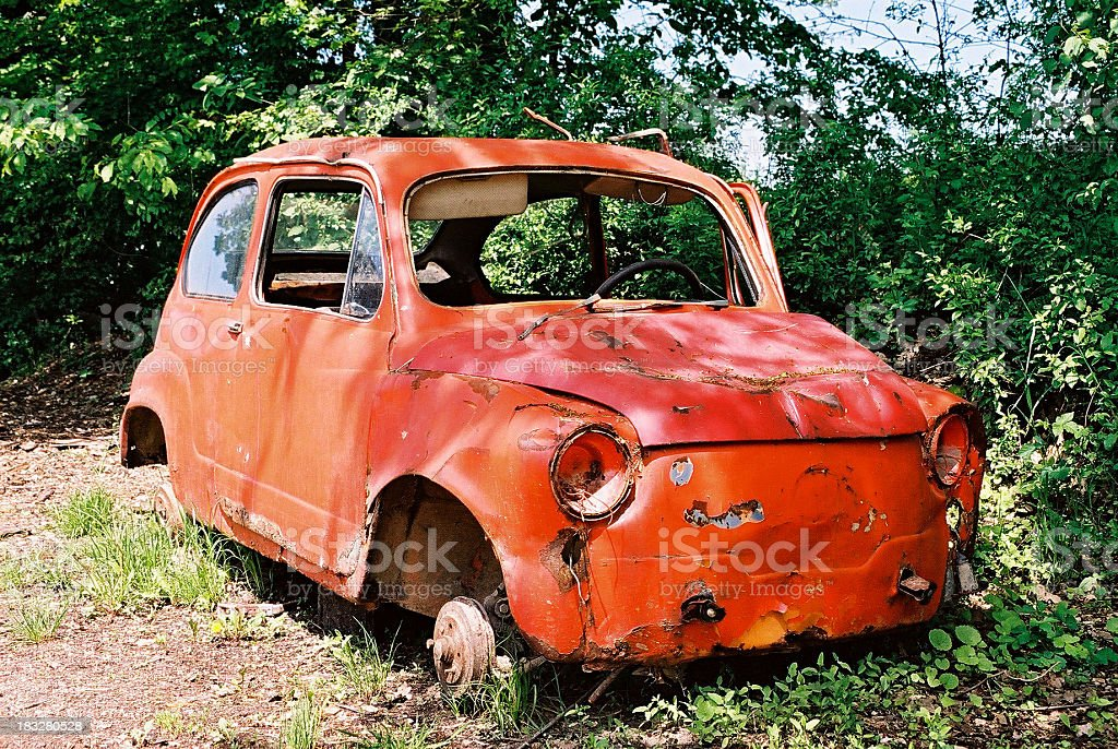 Old wrecked car for sale stock photo