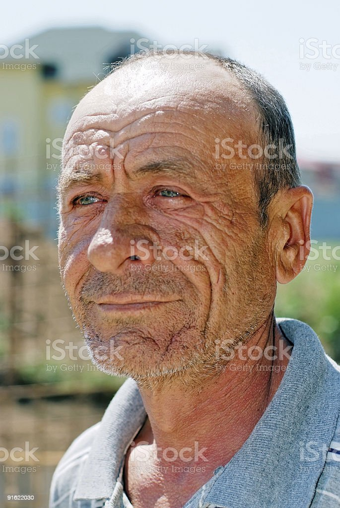 Old wrinkled man portrait royalty-free stock photo