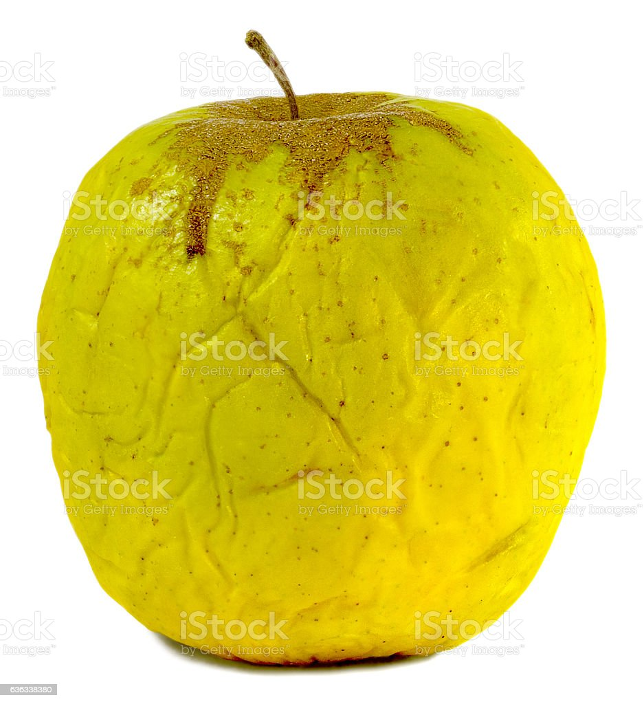 old wrinkly apple stock photo