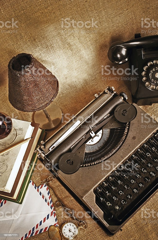 Old writer's office objects stock photo