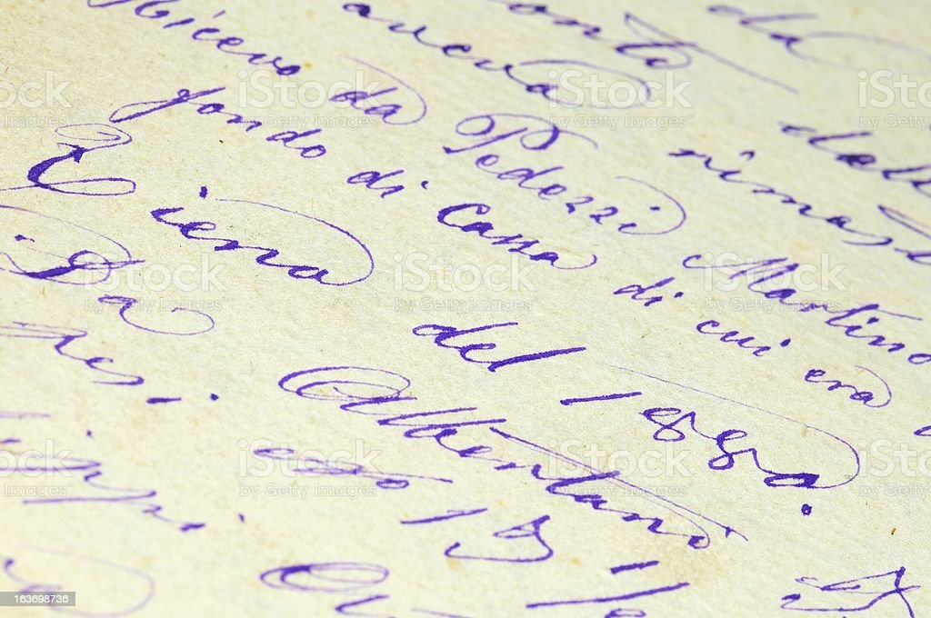 Old writing paper background. Year 1880. royalty-free stock photo
