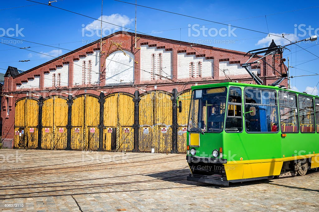 Old Wroclaw tramway depot, Poland stock photo