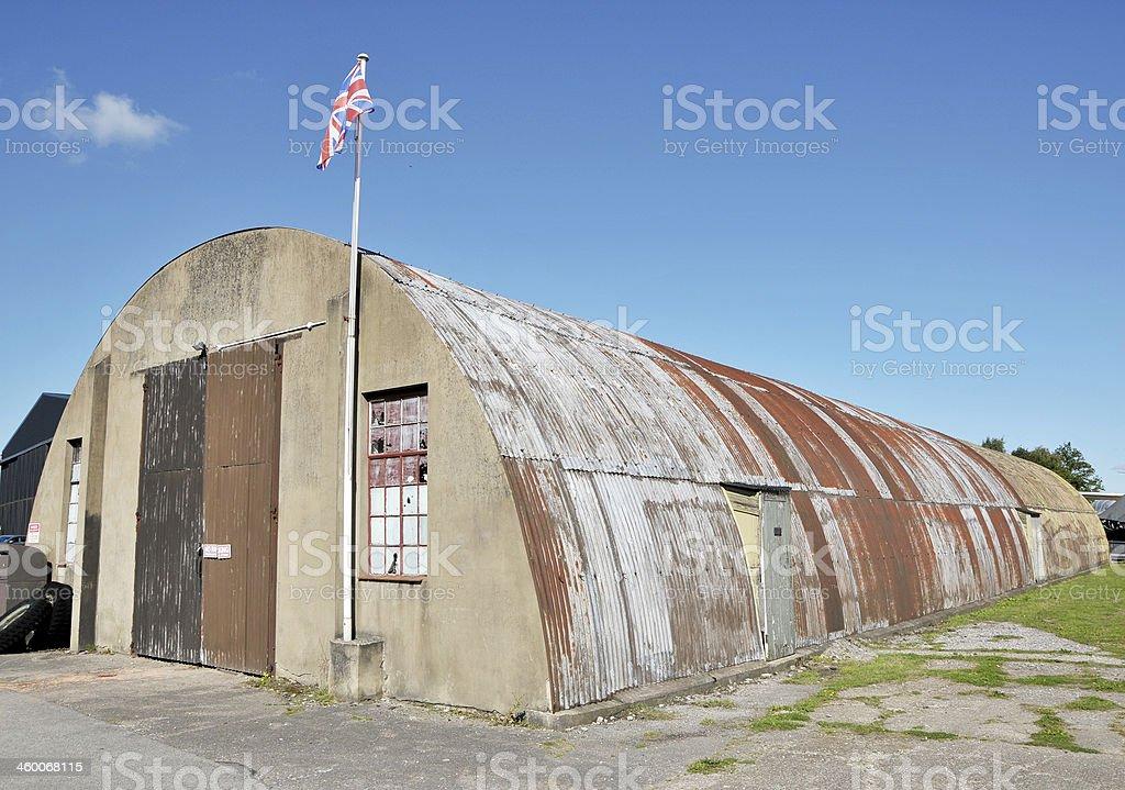 Old WW2 RAF Airfield Nissen Hut stock photo
