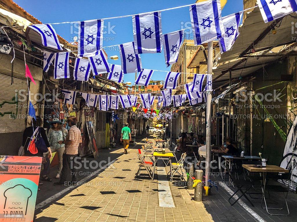 Old Yafo streets full of tourists, Tel Aviv, Israel stock photo
