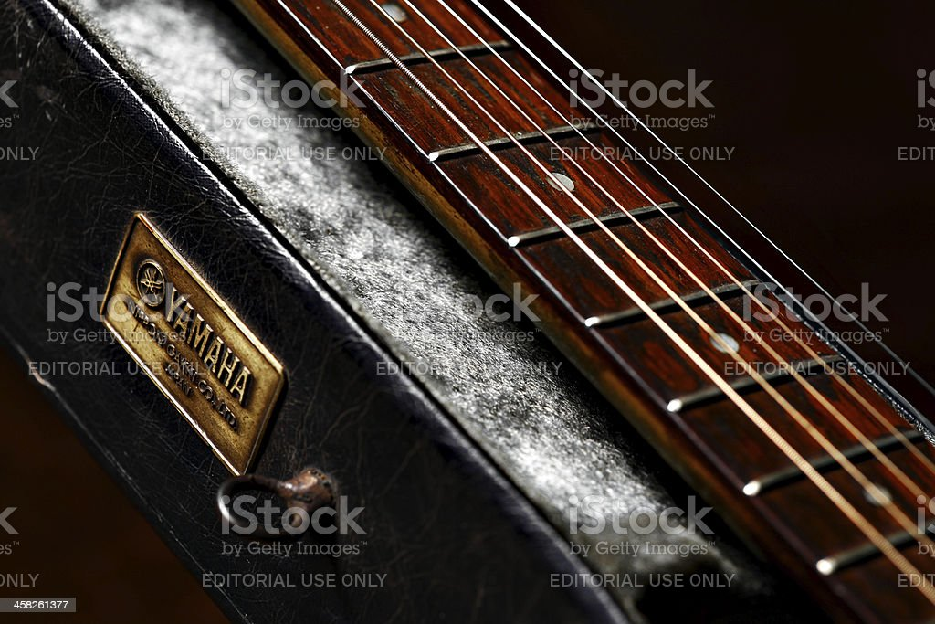Old Yamaha guitar detail royalty-free stock photo
