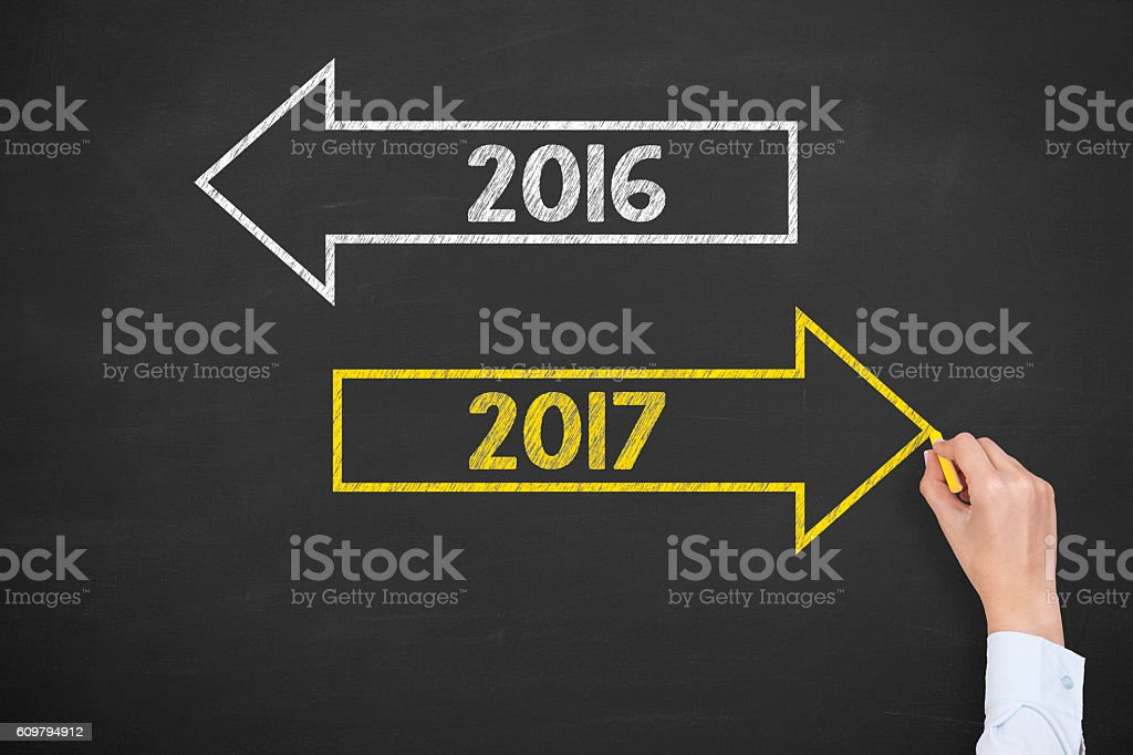 Old Year New Year on Blackboard Background stock photo