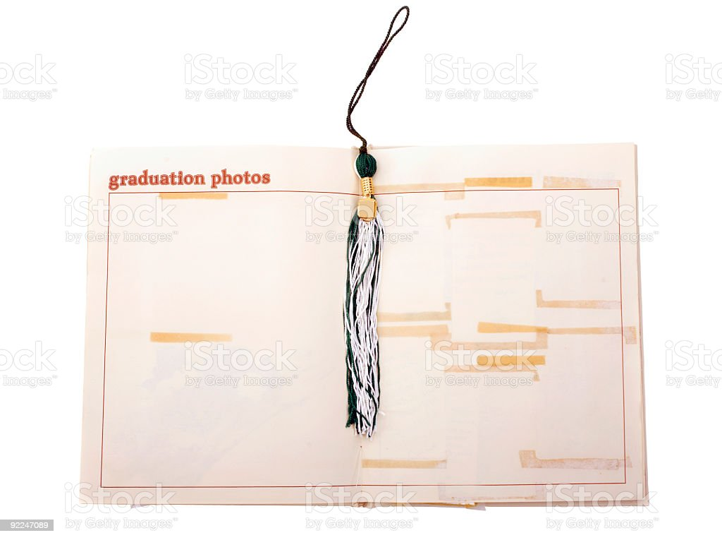 Old yearbook open to Graduation Photos royalty-free stock photo