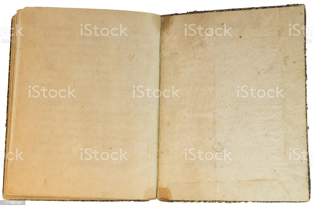 Old yellow hand-written book isolated on white background royalty-free stock photo