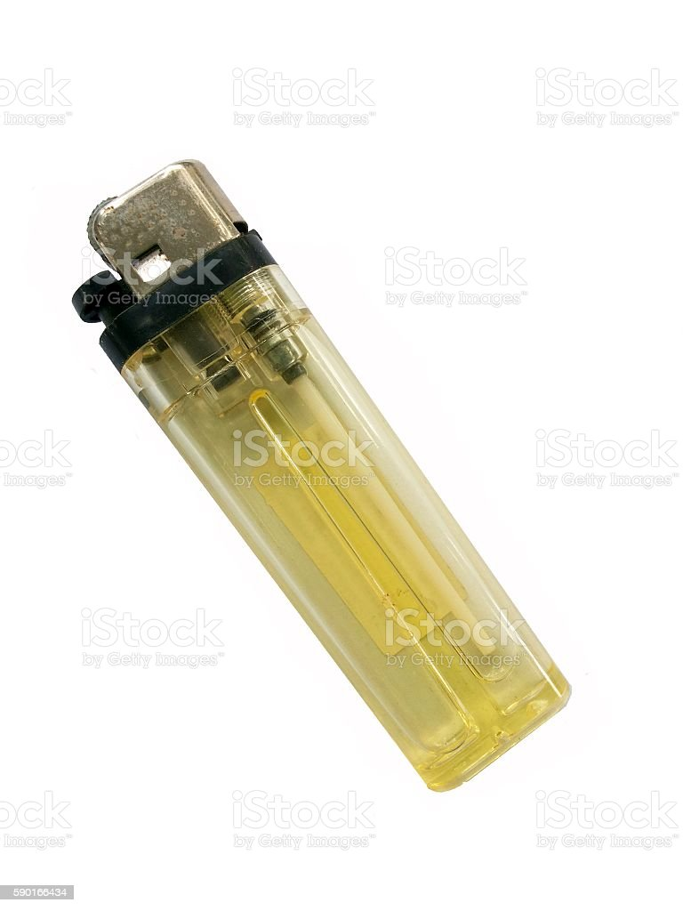 Old yellow lighter stock photo