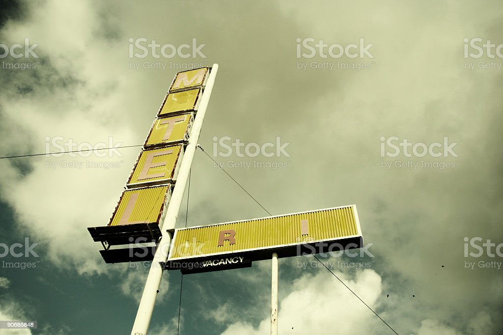 Old Yellow Motel Sign royalty-free stock photo