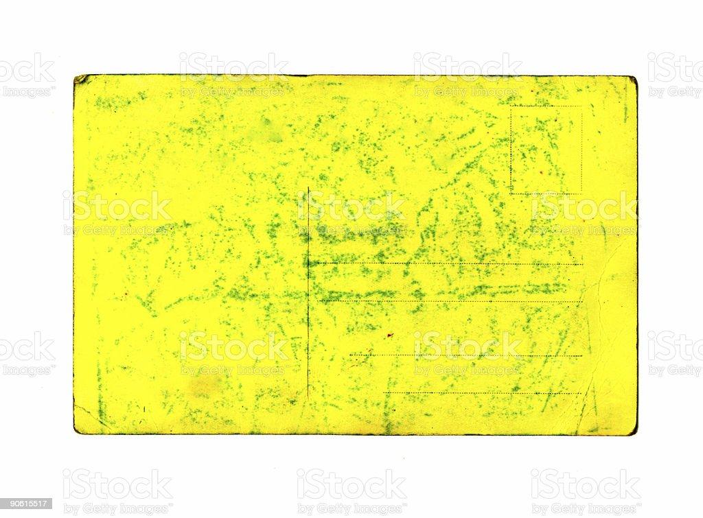 old yellow postcard stock photo
