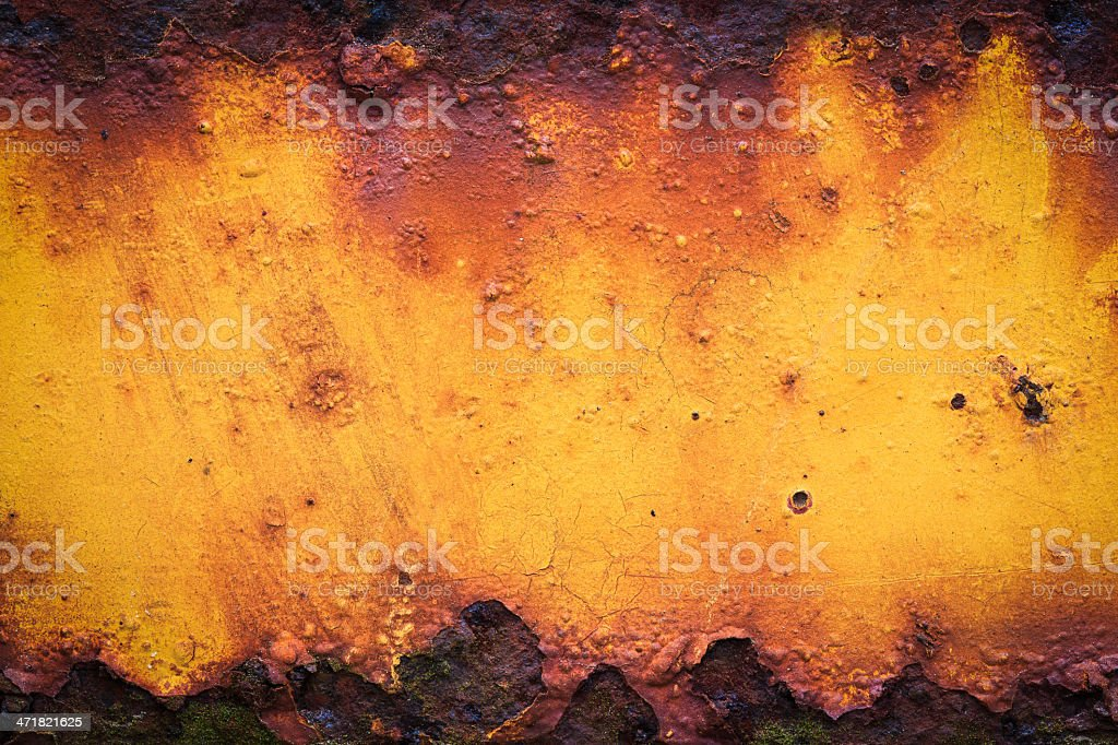 Old yellow rusty metal royalty-free stock photo