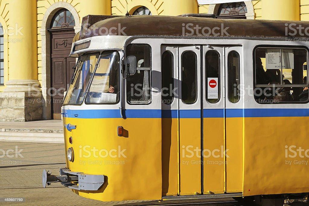 old yellow streetcar royalty-free stock photo