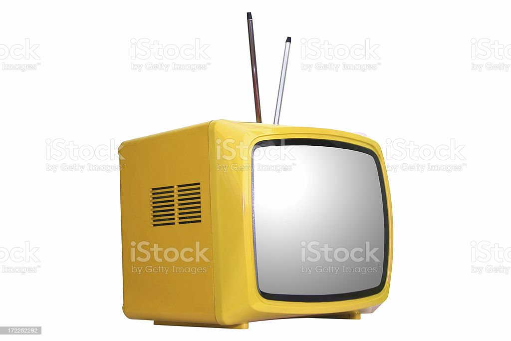 Old yellow television set (isolated) royalty-free stock photo