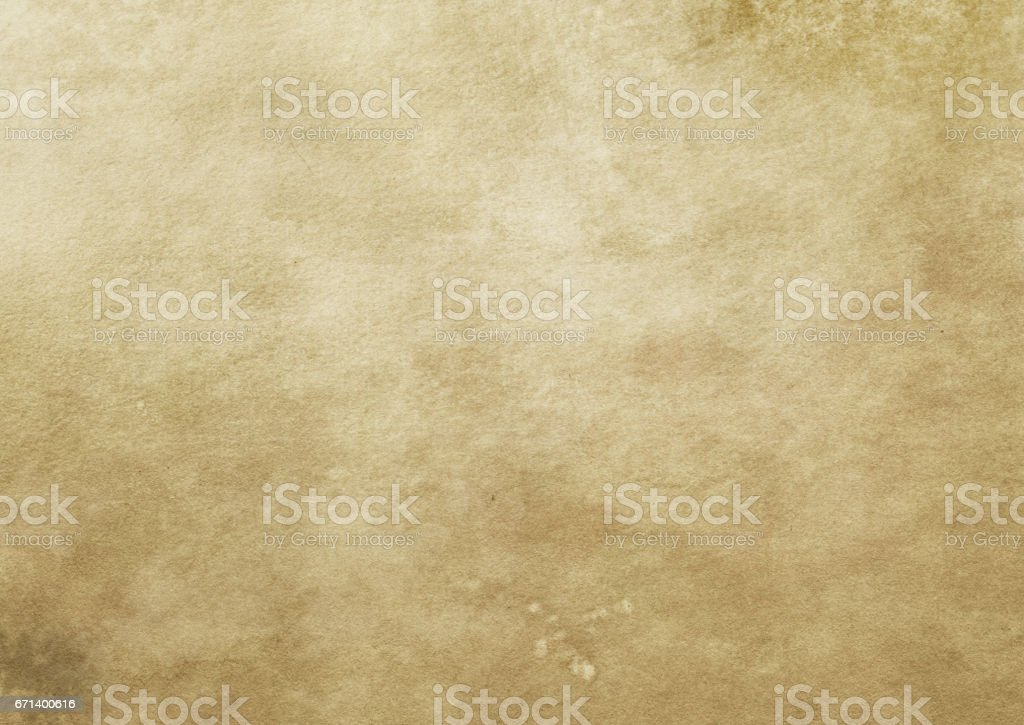 Old yellowed and stained paper texture. stock photo