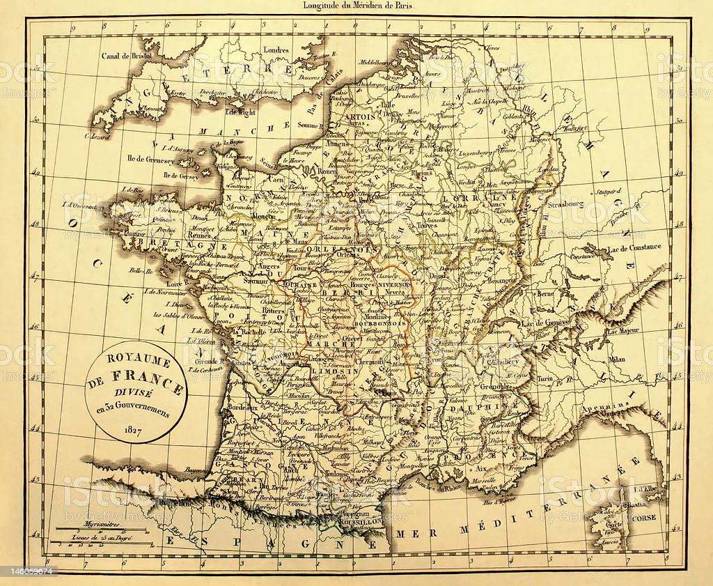 Old yellowed map of France and surrounding water stock photo