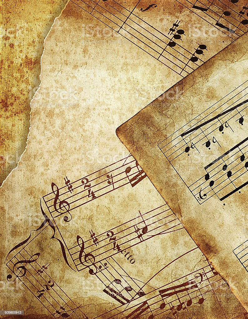 Old, yellowed pages of sheet music royalty-free stock photo