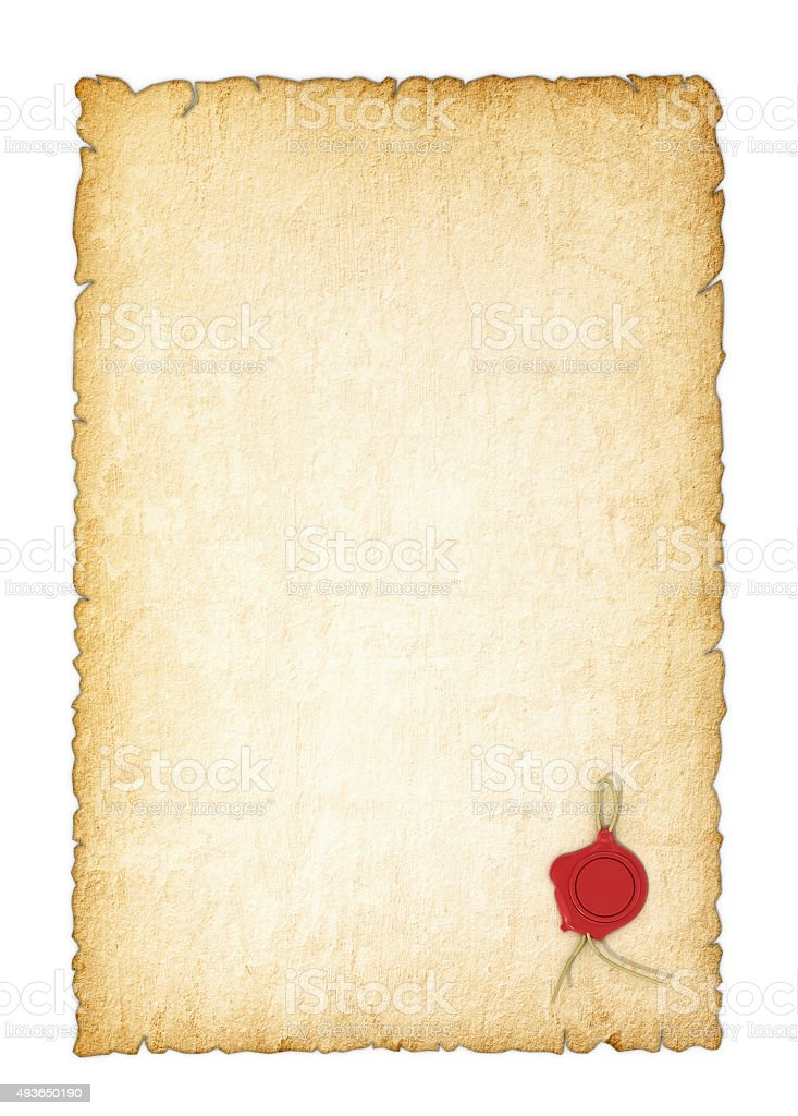 Old yellowed paper with a wax seal on a white background stock photo