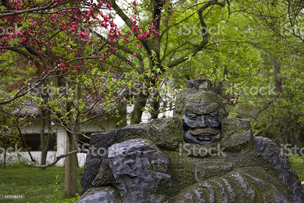 Old Zhang Fei Statue Peach Blossoms Temple Sichuan China stock photo