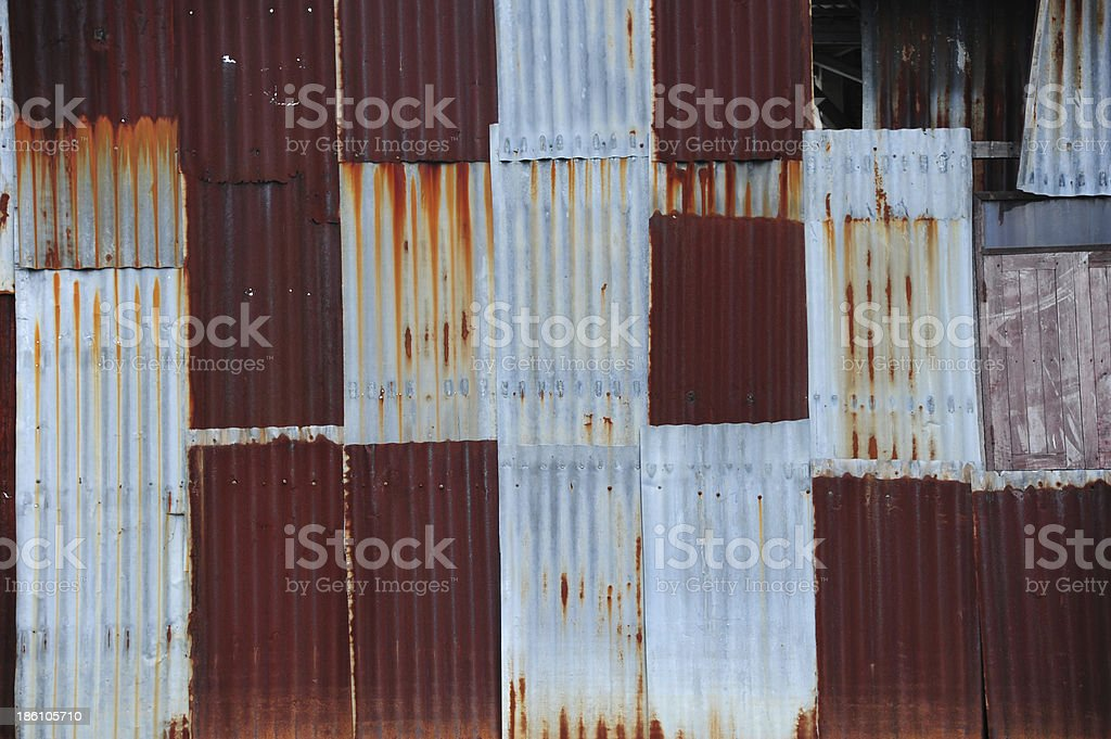 Old zinc sheet Fill with beautiful rust background royalty-free stock photo