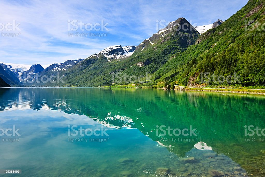 Olden lake near Briksdalsbreen Glacier, Norway stock photo