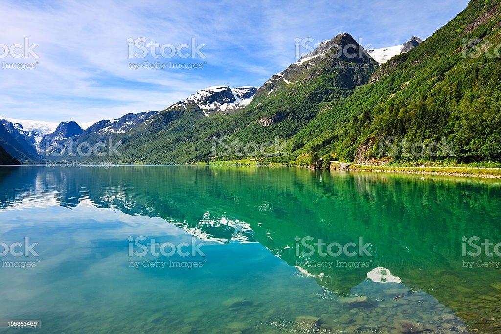 Olden lake near Briksdalsbreen Glacier, Norway stock photo
