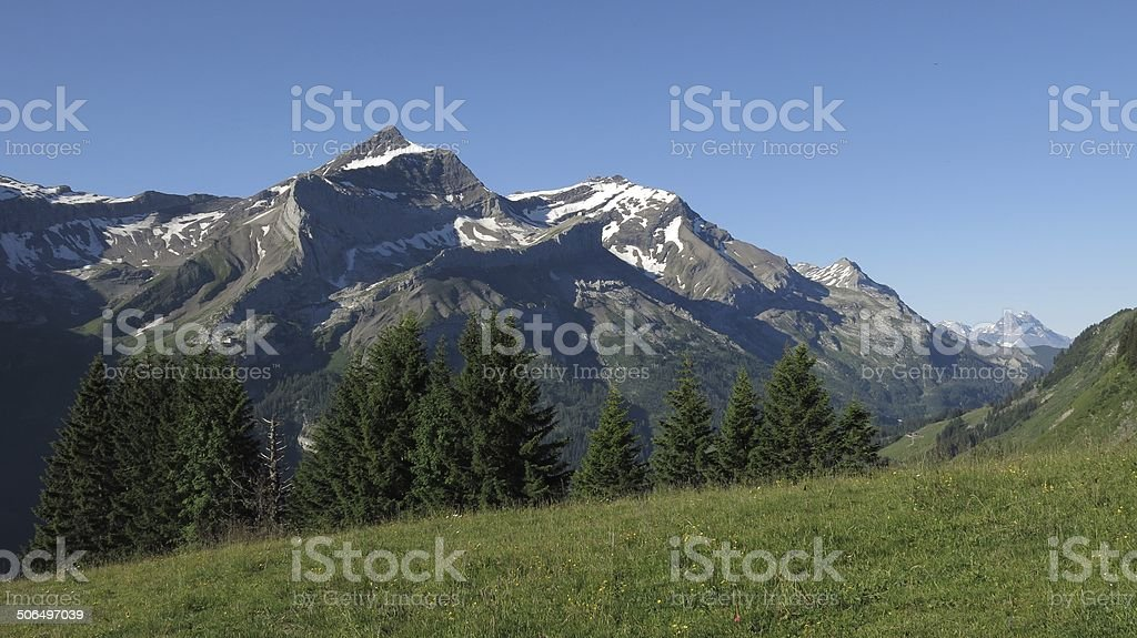 Oldenhorn, Scex Rouge and Dents Du Midi stock photo