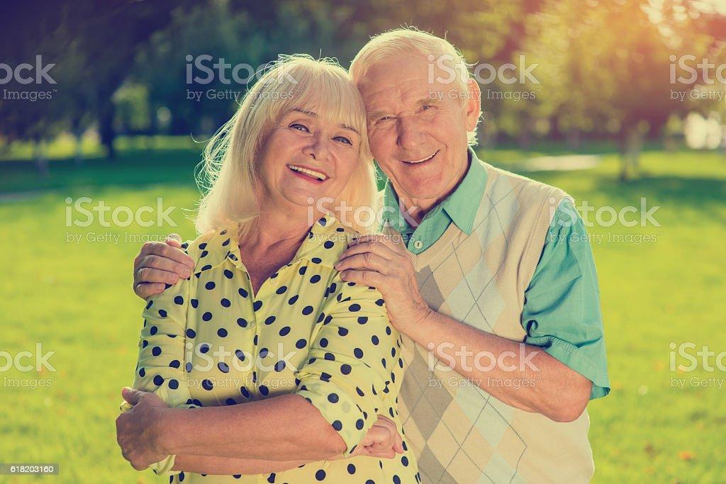 Older couple outdoor. stock photo