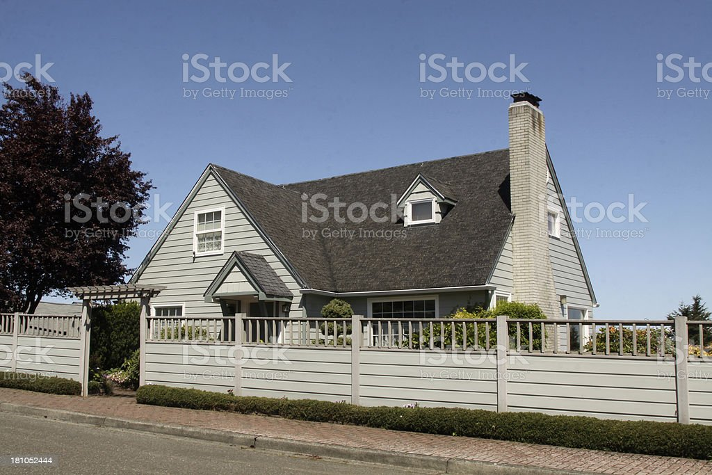Older Home With New Fence stock photo