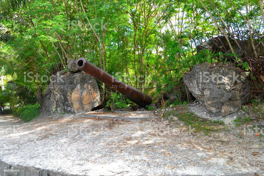 Older Japanese guns on the island of Saipan. stock photo