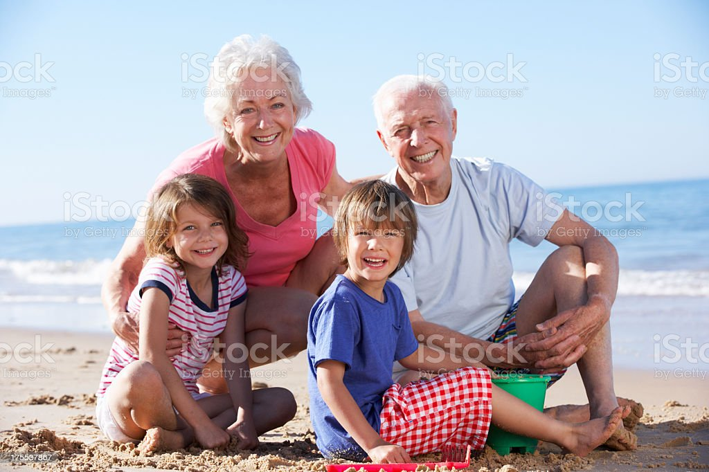 Older man and woman with two children sitting on the beach stock photo