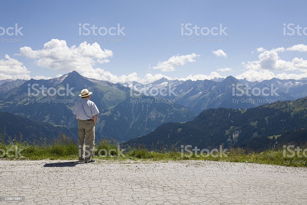 older man overlooking the valley (Austria, Europe) royalty-free stock photo
