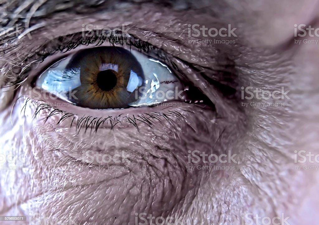Older Man's Right Eye stock photo