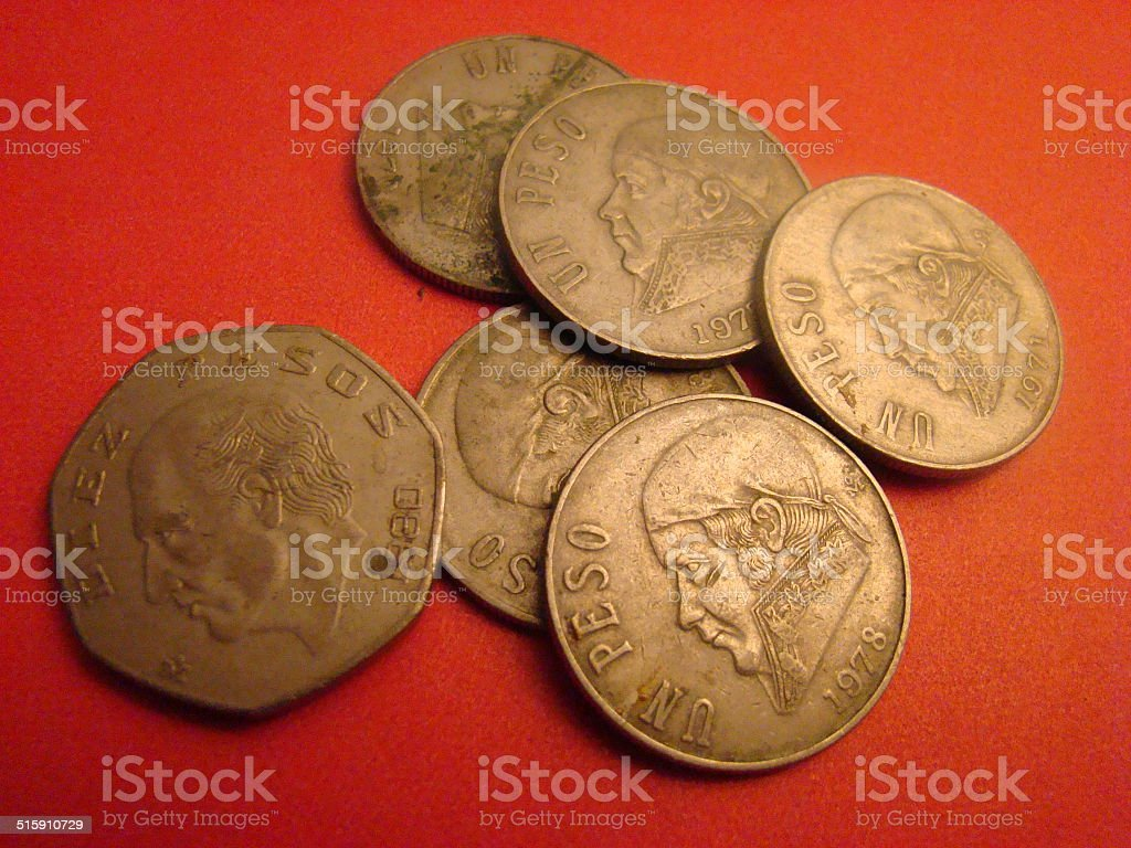 Older Mexican Peso Coins stock photo