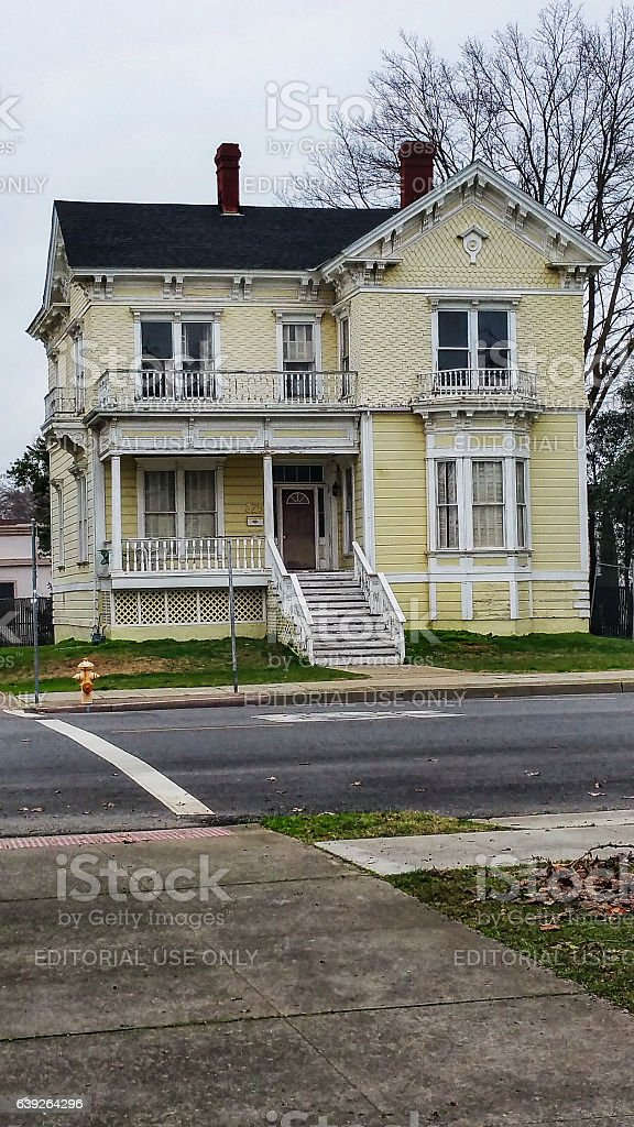 Older Two Story Home with Balcony Northern California stock photo