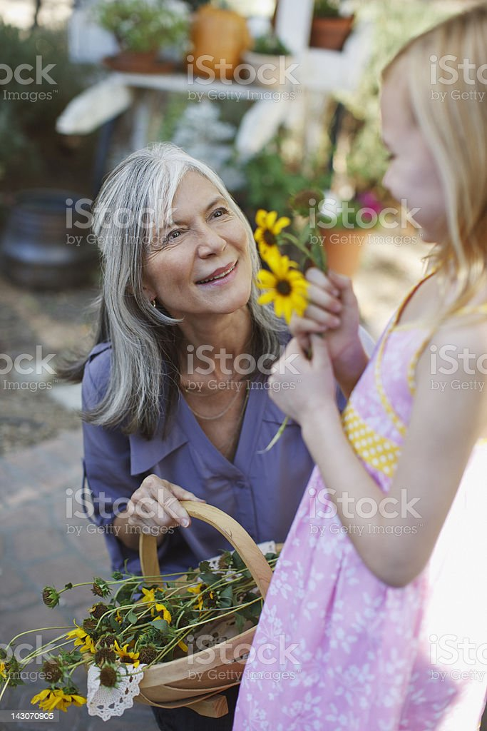 Older woman picking flowers with granddaughter royalty-free stock photo