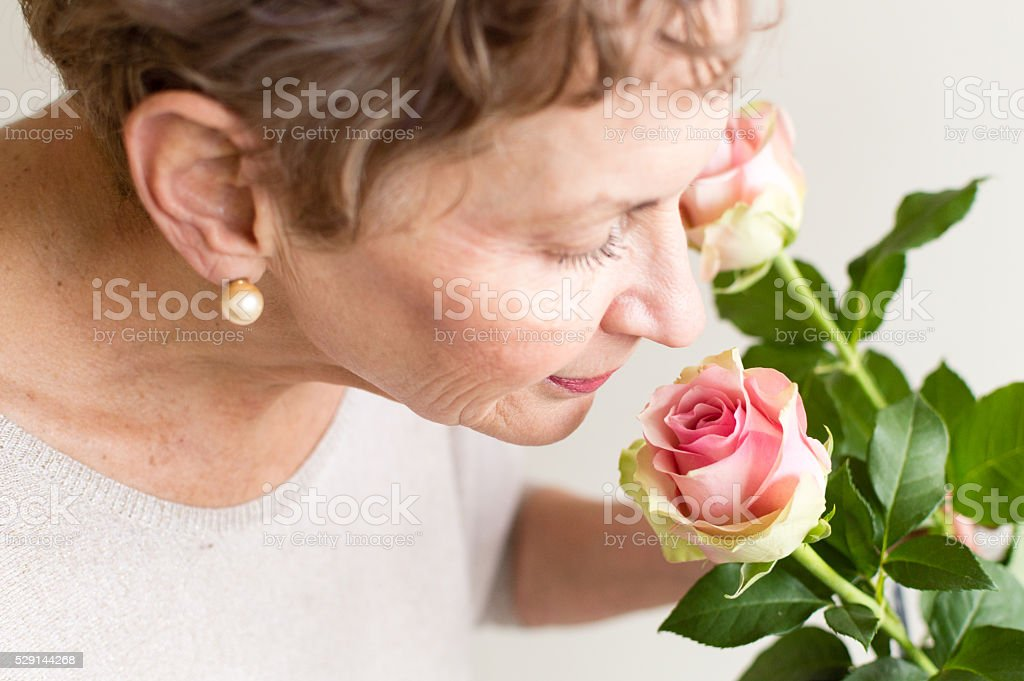 Older woman smelling pink rose stock photo