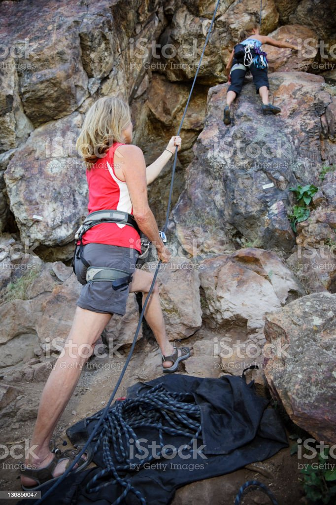 Older Women Rock Climbers royalty-free stock photo