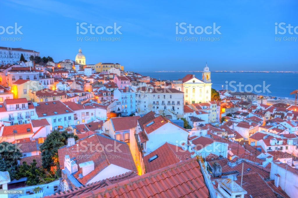 Oldest district of the city Alfama, Lisbon stock photo