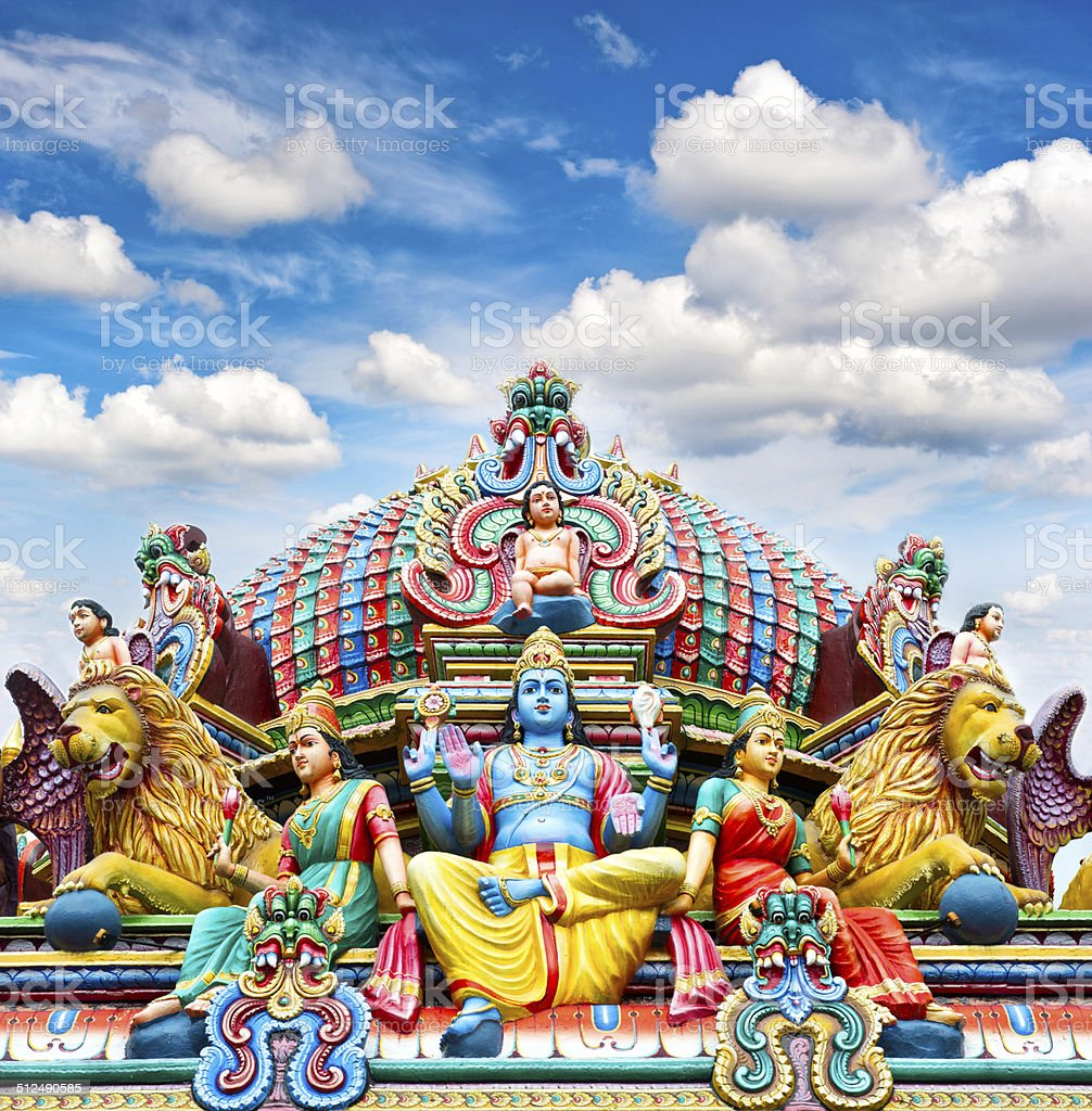 Oldest Hindu temple Sri Mariamman in Singapore over blue sky stock photo