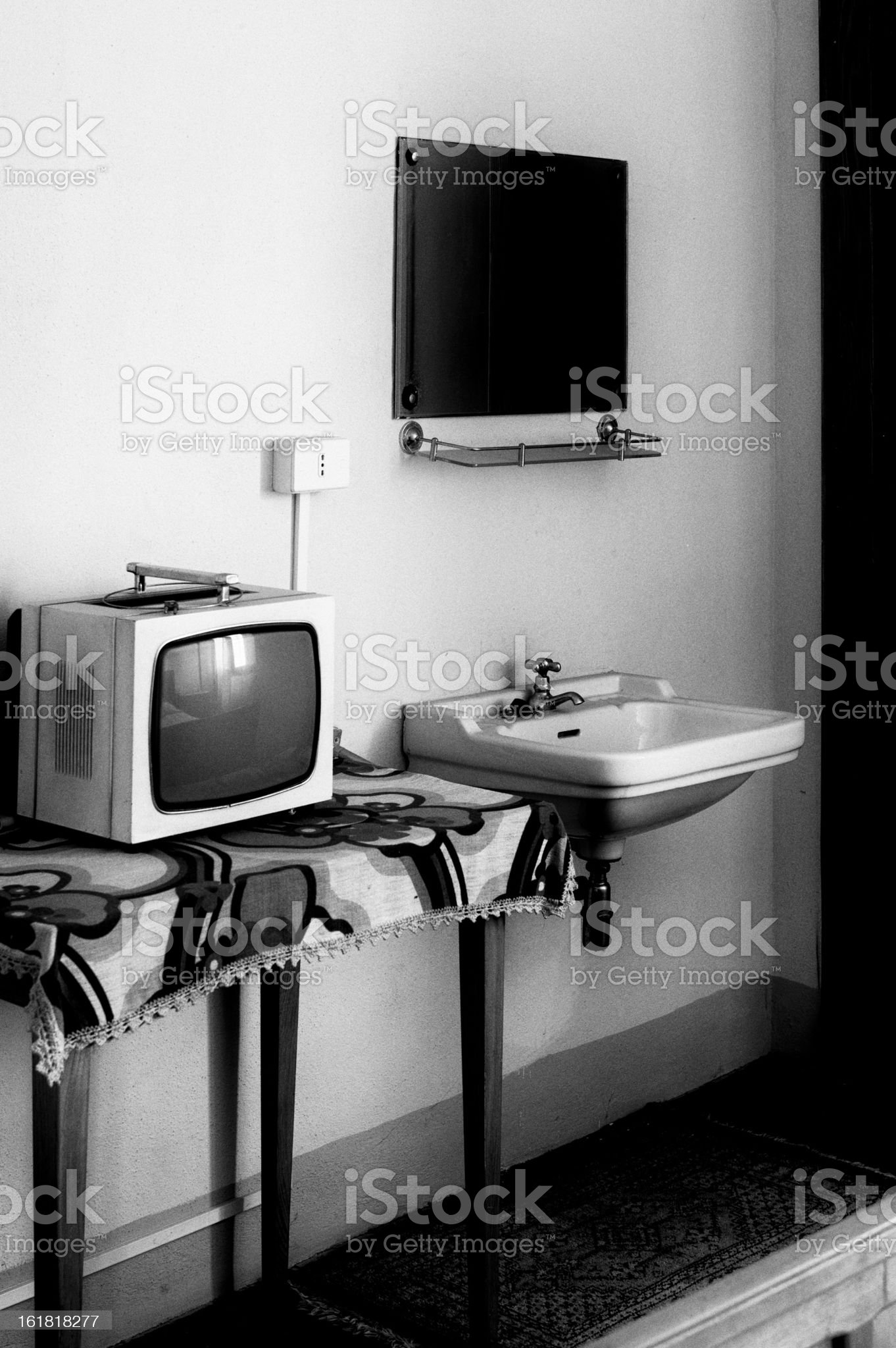 Old-fashion bedroom. Black and White royalty-free stock photo