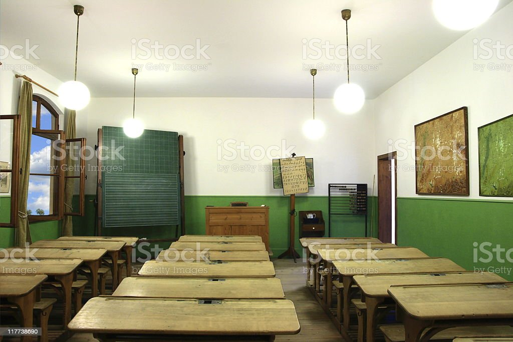 Old-fashioned class room royalty-free stock photo
