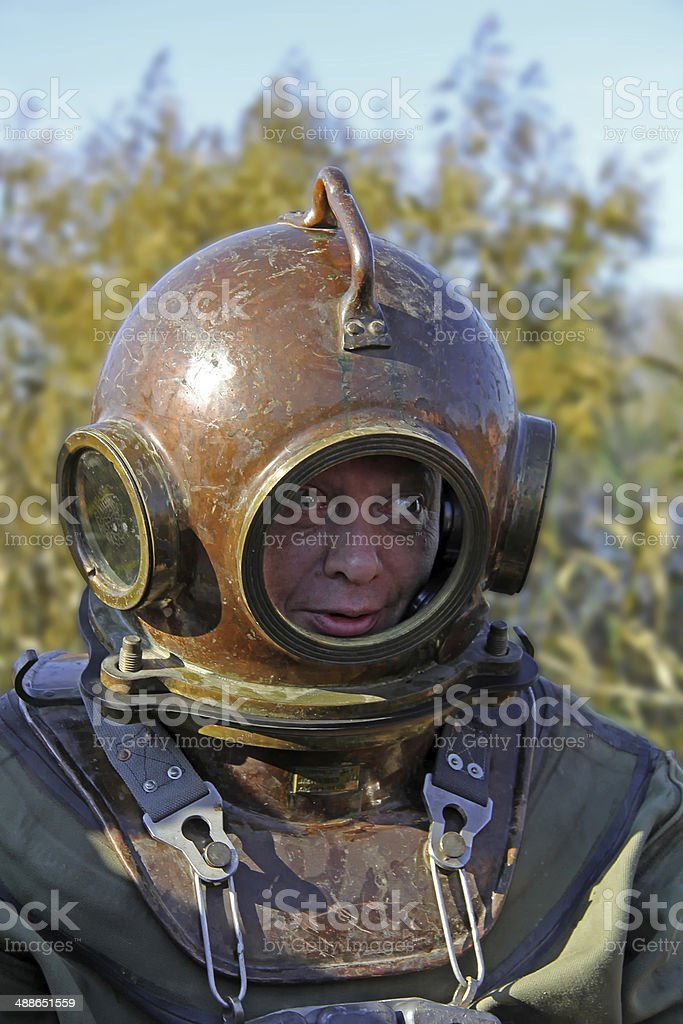 Old-fashioned diving equipment stock photo