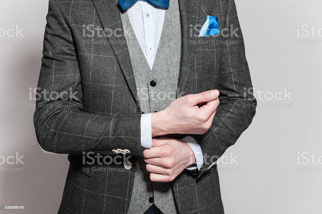 Old-fashioned elegance, man wearing tweed jacket and vest stock photo