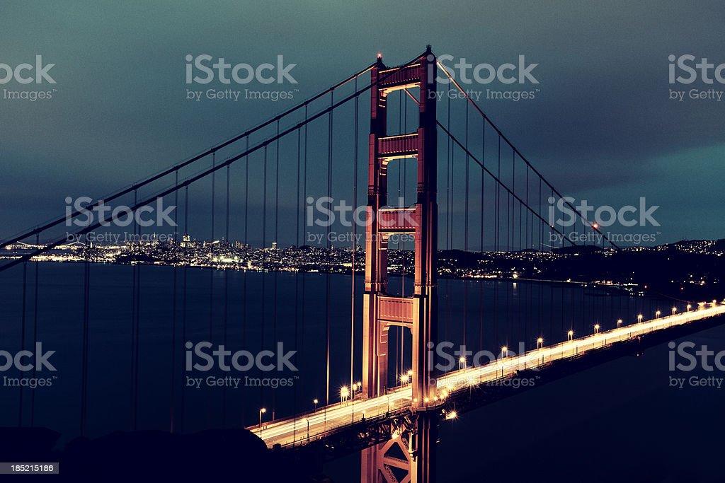Old-fashioned image of San Fransisco Golden Gate Bridge at sunset royalty-free stock photo