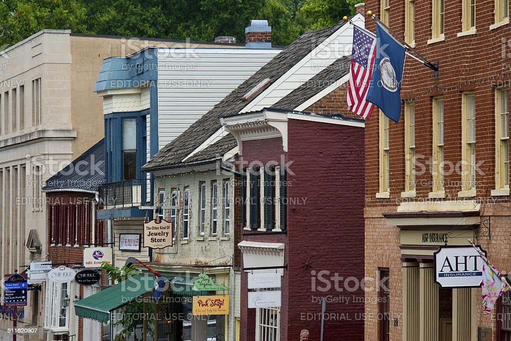 Old-fashioned Main Street in Historic Town of Leesburg, Virginia stock photo