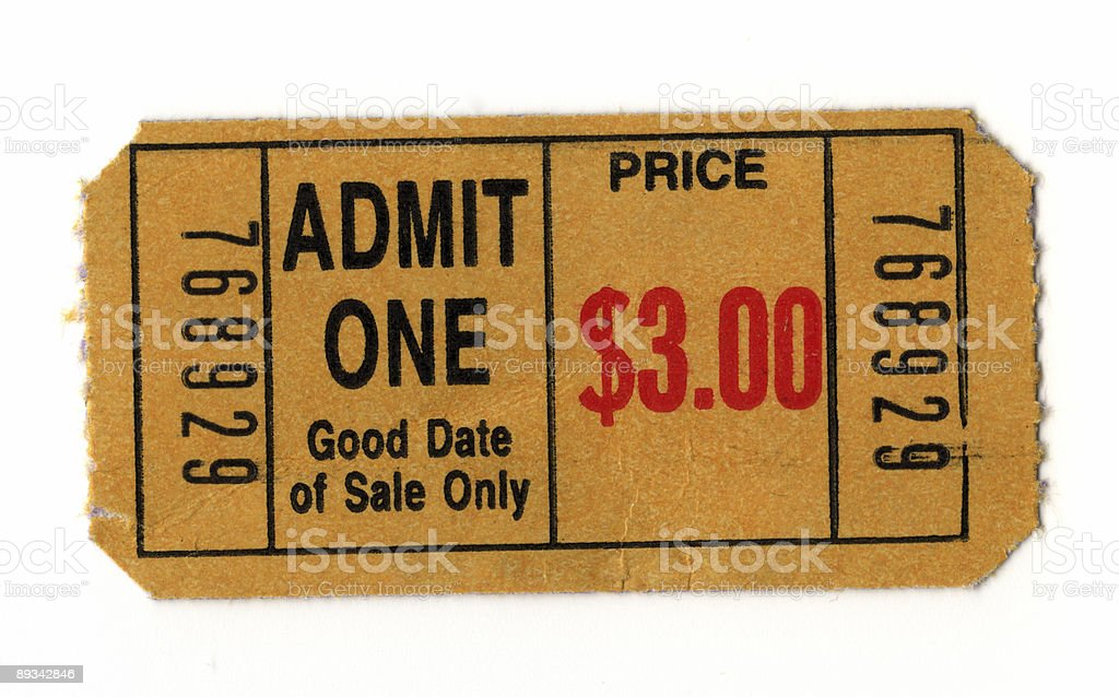 Old-Fashioned Movie Ticket on White Background - Close-Up stock photo