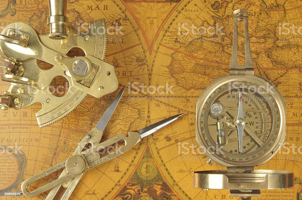 Old-fashioned navigation devices stock photo