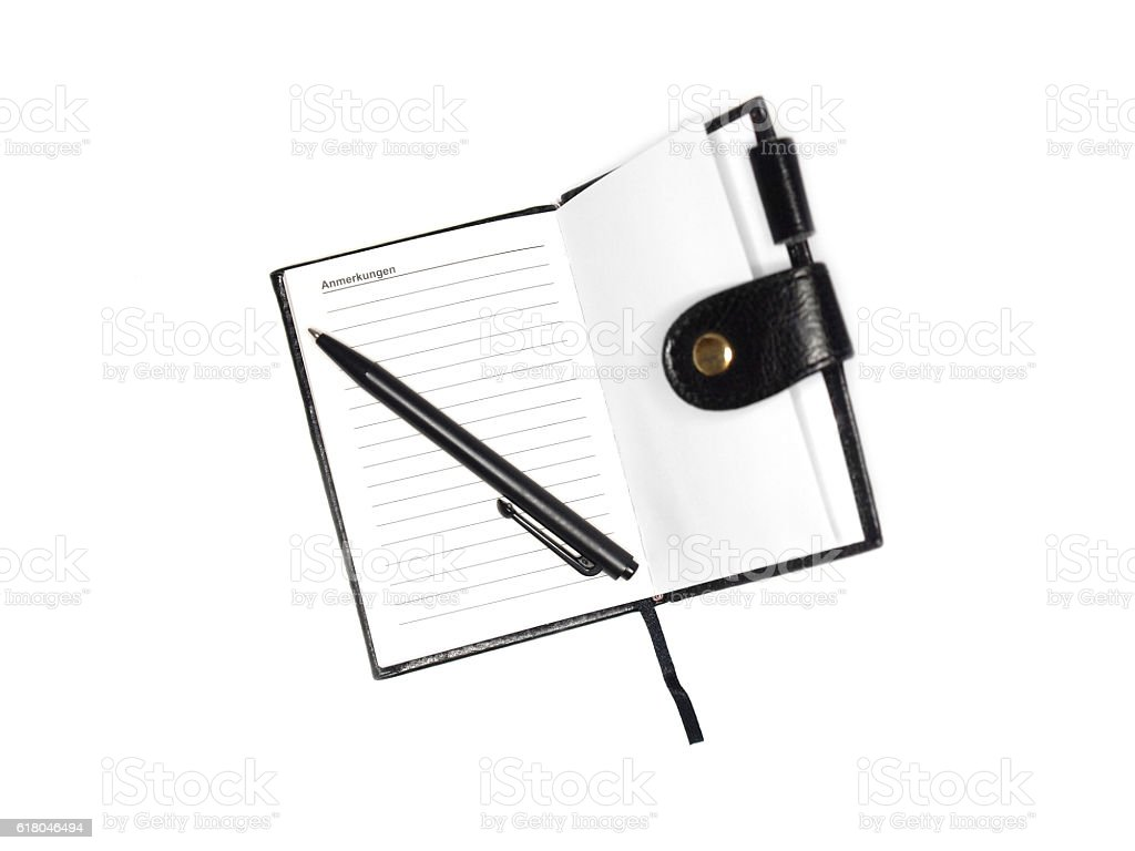 old-fashioned notebook stock photo